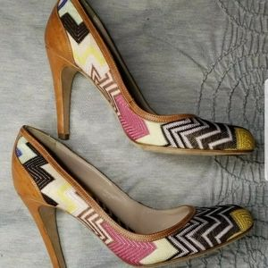 Missoni Chevron Pink Brown Yellow heels EU39